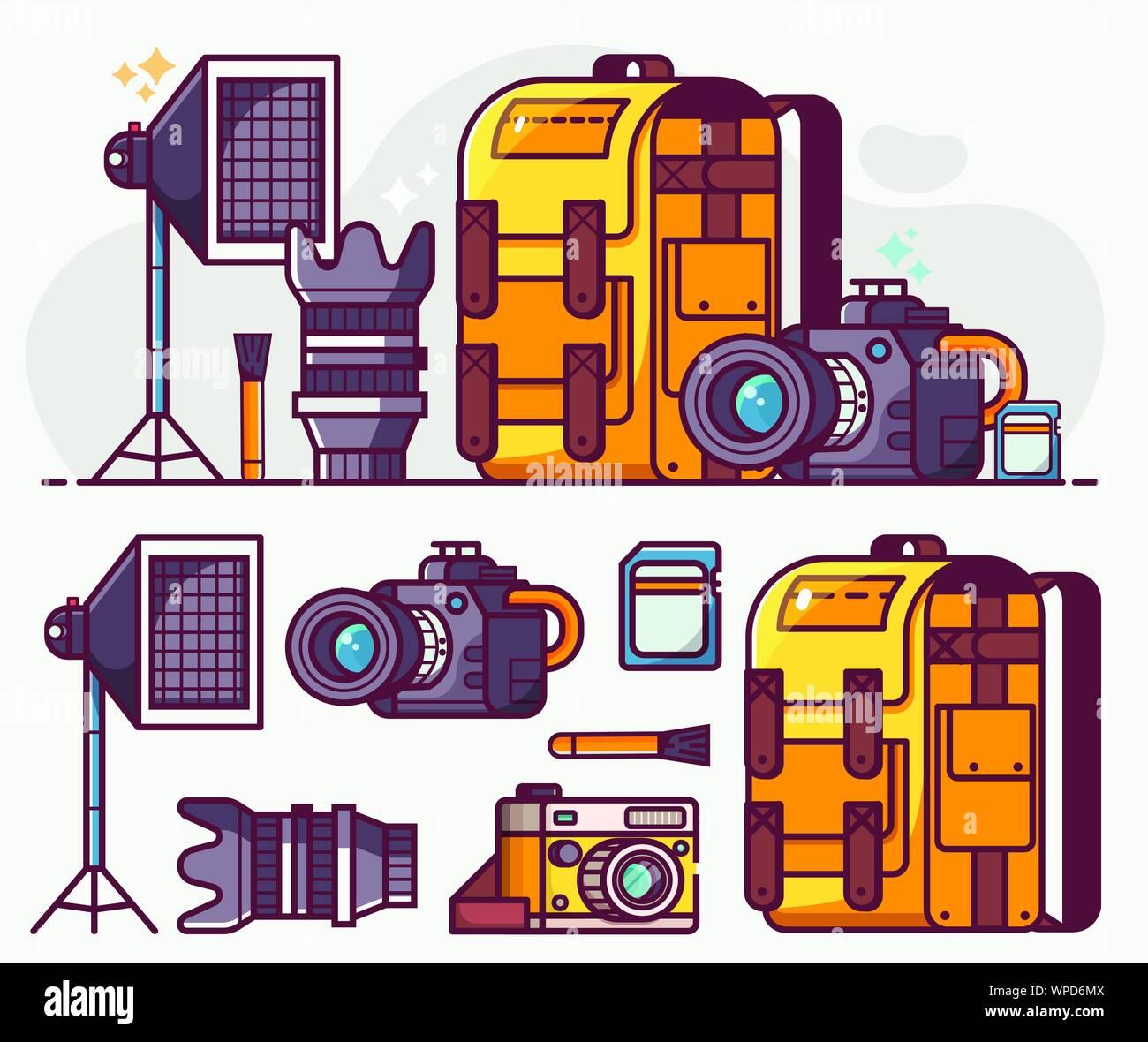 Digital Photo Studio Equipment Line Icons Set Stock Vector