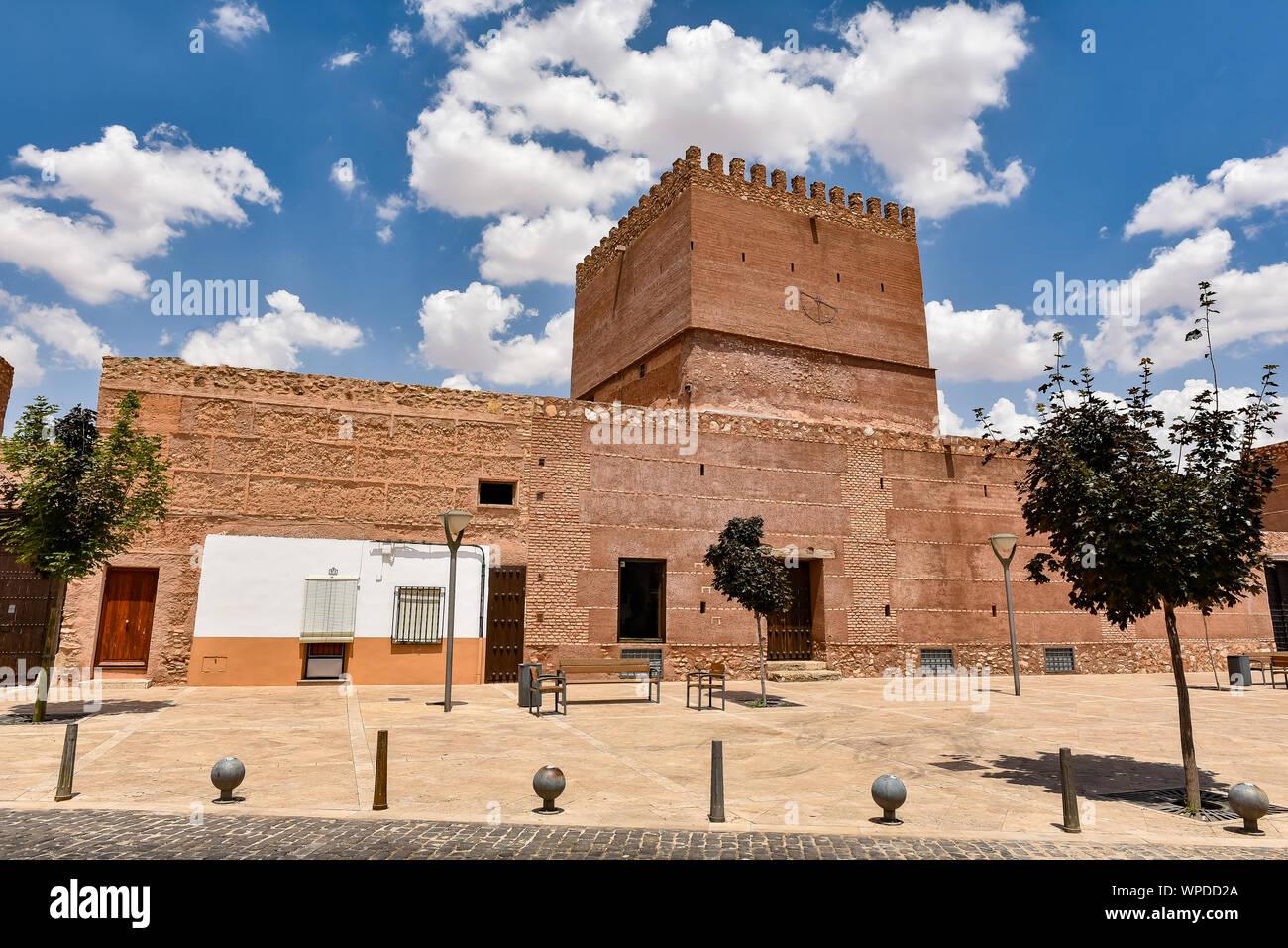 Medieval Castle Pilas Bonas, in Manzanares, Ciudad Real Stock Photo