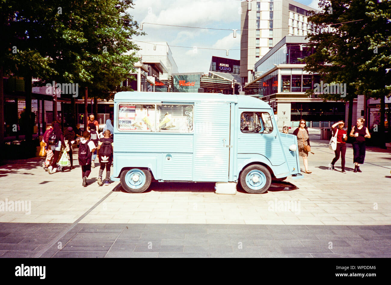 Retro ice cream van outside Westfield Shopping centre , Stratford, London, England, United Kingdom. Stock Photo
