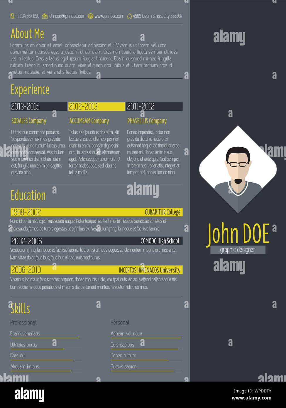 Modern Curriculum Vitae Resume With Dark Background Stock Vector Image Art Alamy