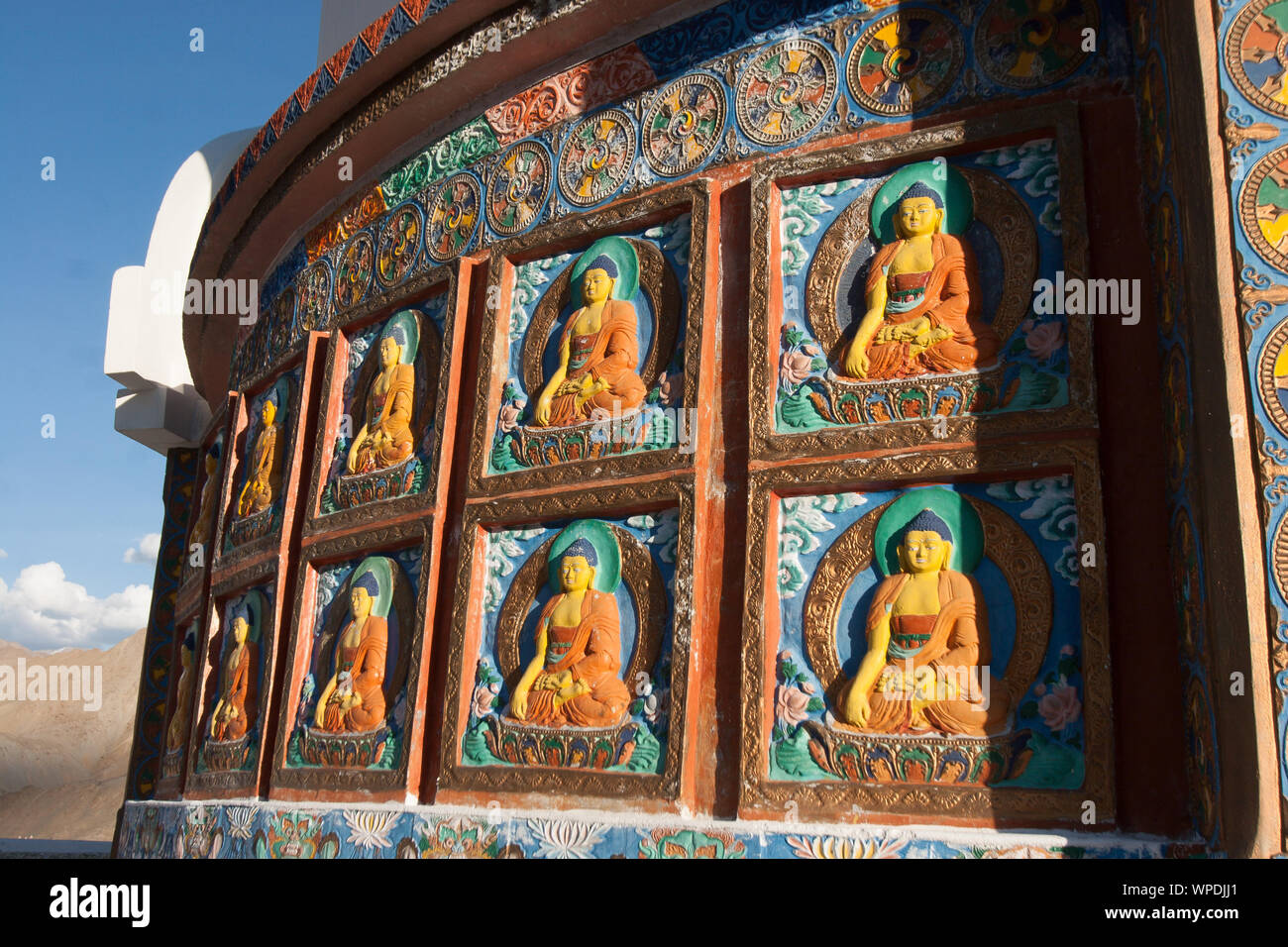 Shanti Stupa, Shanti Stupa is a Buddhist white-domed stupa on a hilltop in Chanspa, Leh district, Ladakh, in the north India. Stock Photo