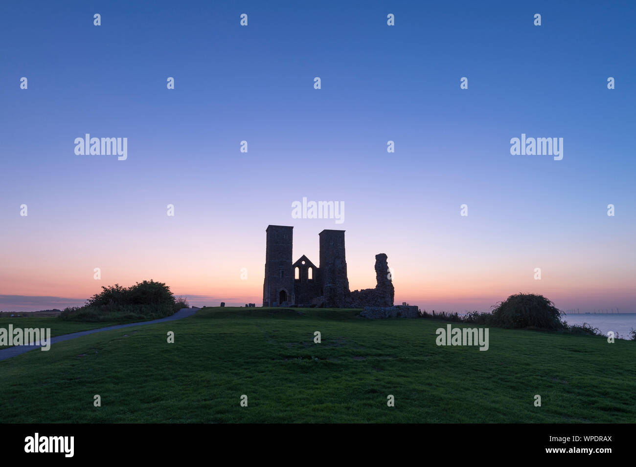 Reculver Towers on the North Kent coast during twilight. Stock Photo