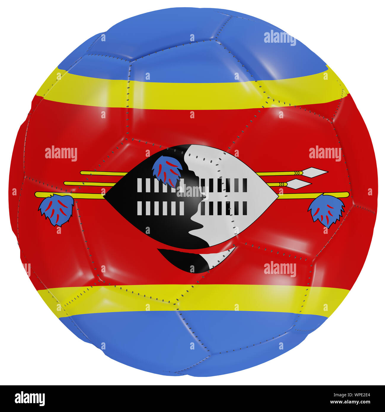 3d rendering of a Swaziland flag on a soccer ball. Isolated in white background Stock Photo