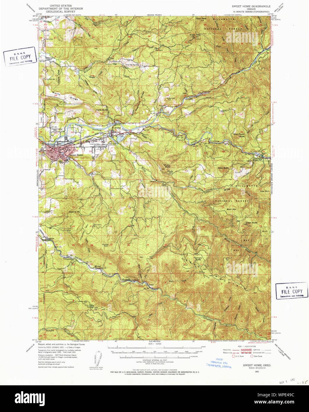 Usgs Topo Map Oregon Sweet Home 282937 1951 62500