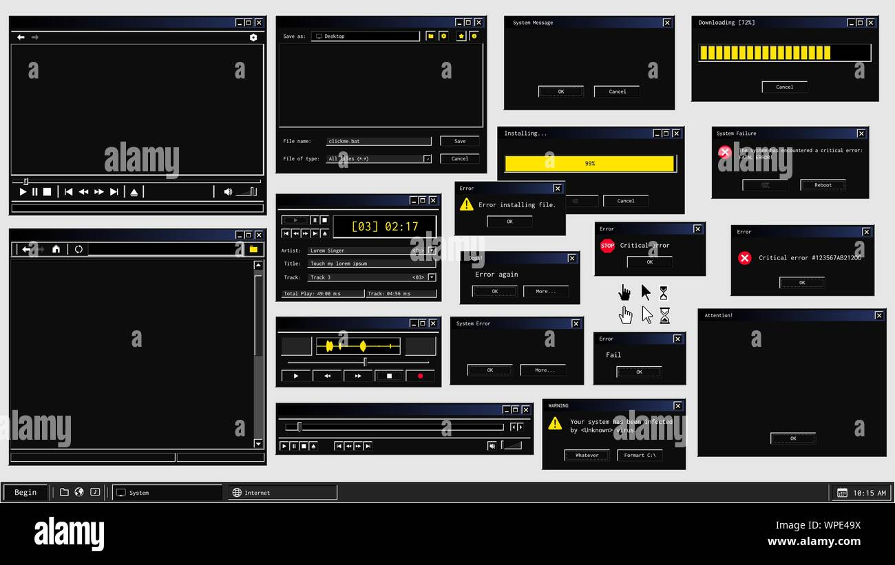 Set of retro user interface of software programs in dark mode theme Stock Vector