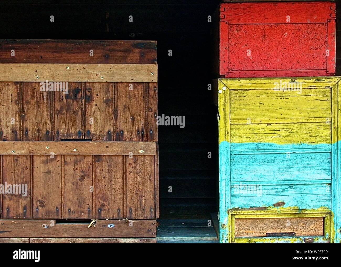 Colorful Wooden Cabinets In Warehouse Stock Photo