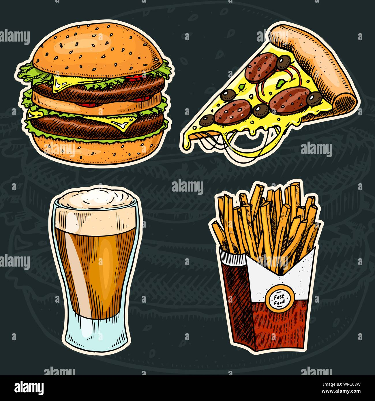 Junk Fast Food Burger And Pizza Beer And French Fries On A Black Background Vintage Sketch For Restaurant Menu Hand Drawn Stickers In Retro Style Stock Vector Image Art Alamy