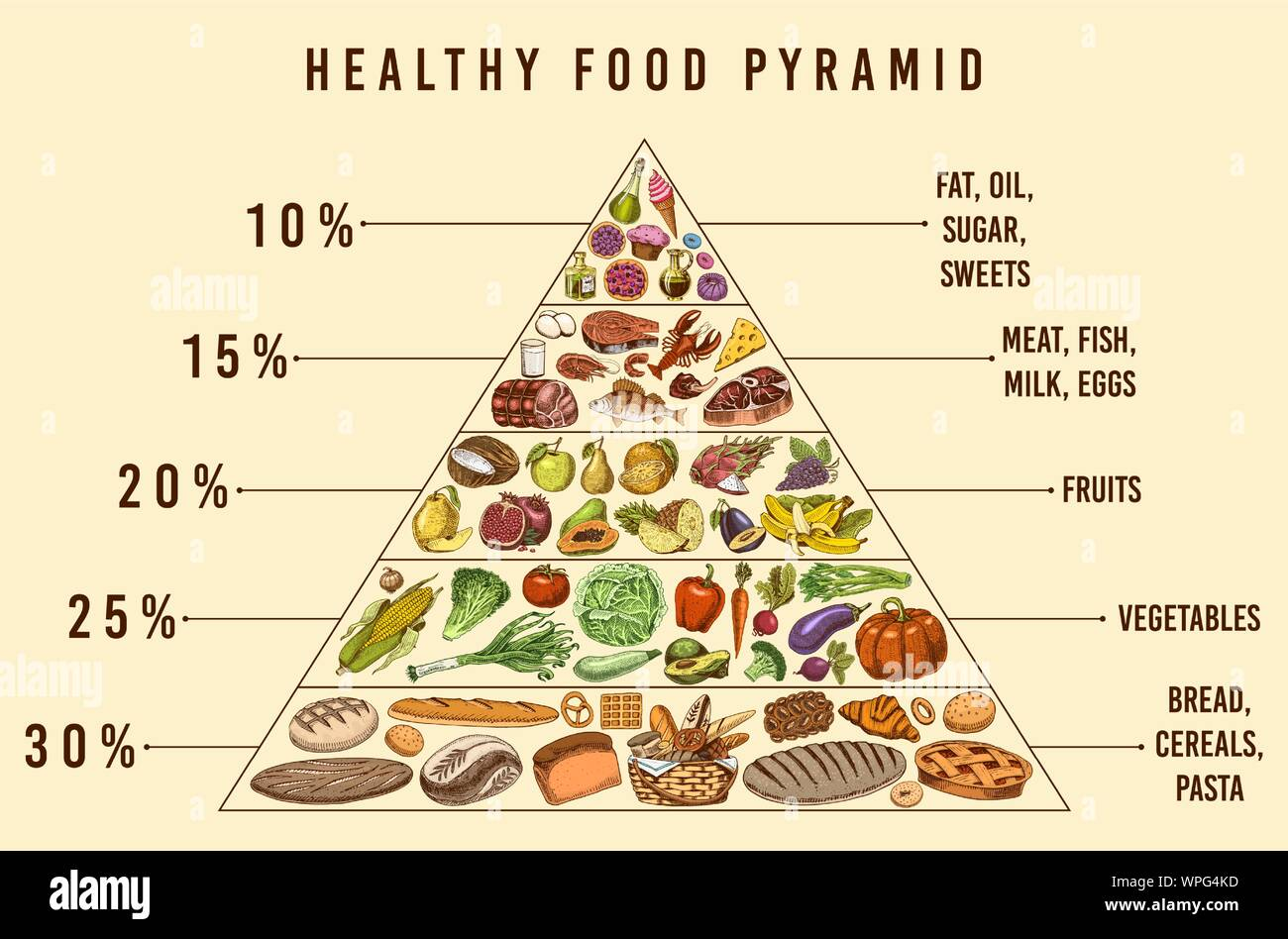 Healthy Food Plan Pyramid Infographics For Balanced Diet Percentage Lifestyle Concept Ingredients For Meal Plan Nutrition Guide Hand Drawn In Stock Vector Image Art Alamy