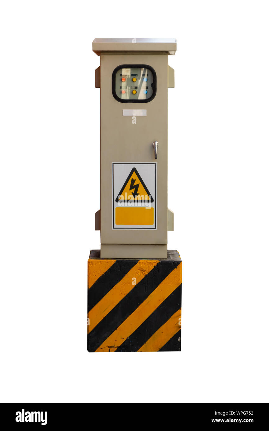Electrical control box isolated on white background. Stock Photo