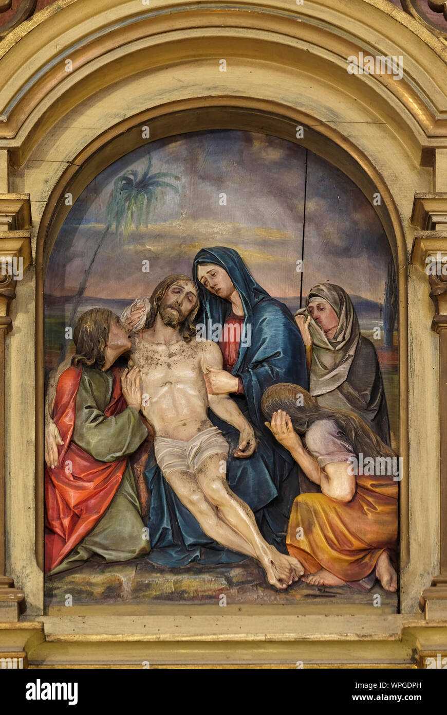 13th Stations Of The Cross Jesus Body Is Removed From The Cross Saint John The Baptist Church In Zagreb Croatia Stock Photo Alamy