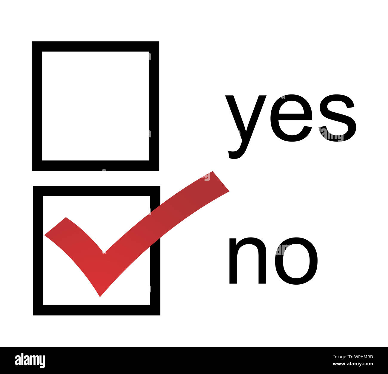 Yes And No Check Boxes With Check Mark In The Yes Stock ... |Check Box Yes