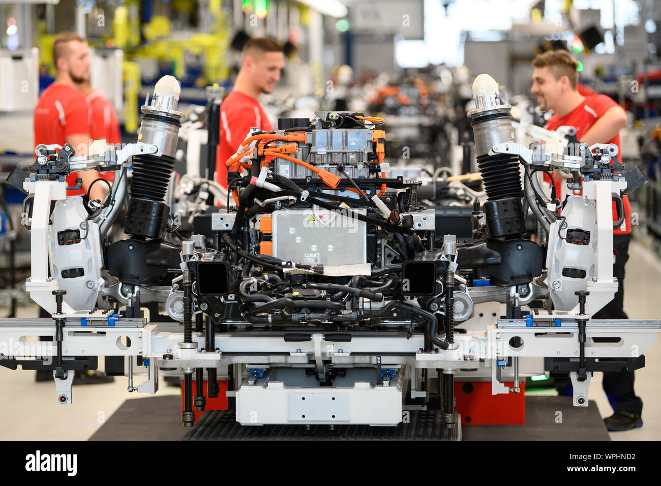 09 September 2019 Baden Wuerttemberg Stuttgart During A Show Production Opening The Production Of The Porsche Taycan The Sports Car Manufacturer S First All Electric Model Employees Are Working On A Chassis With An Electric