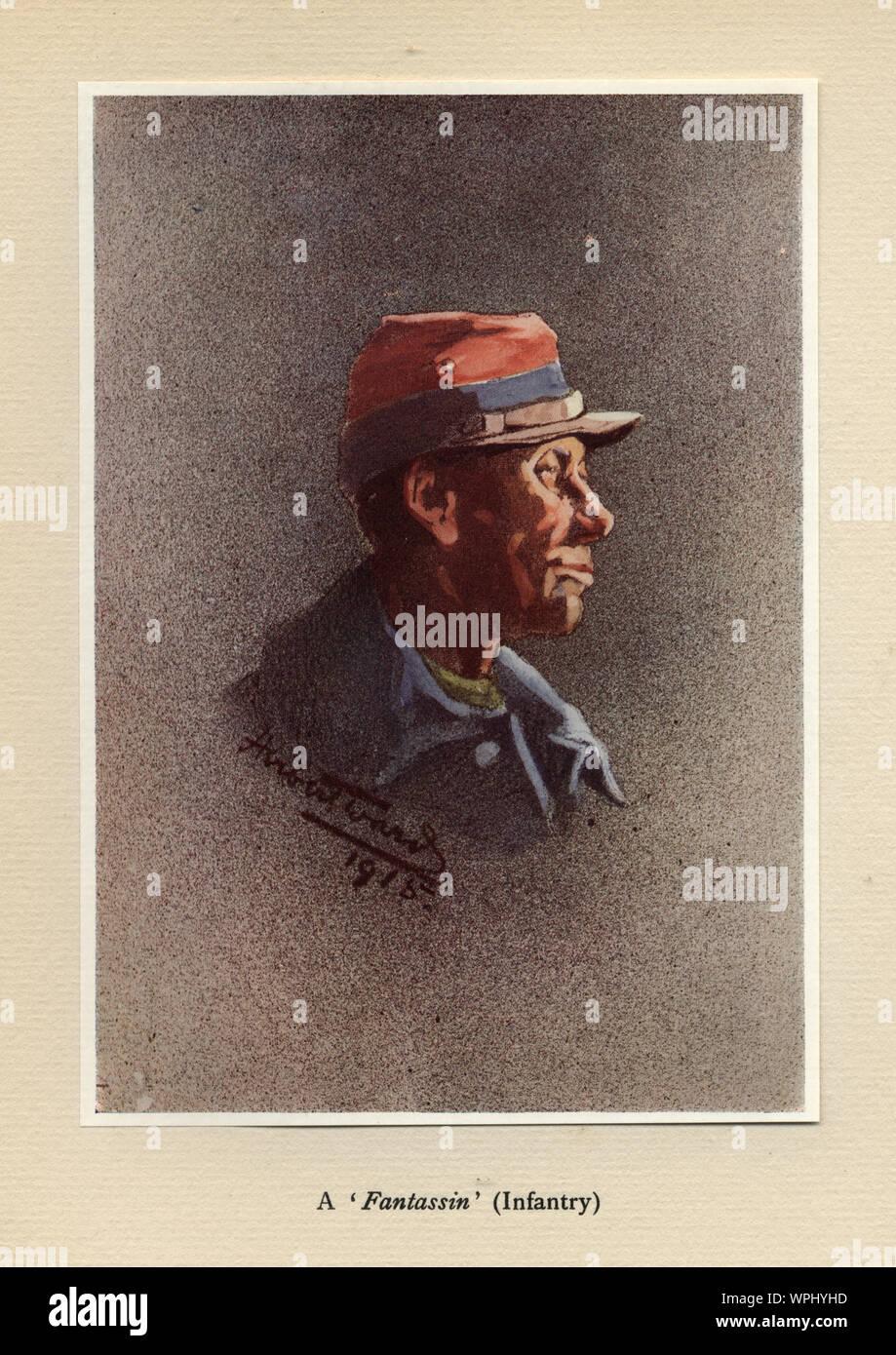 World Ward One, French soldier, Fantassin, Infantry, 1915. Mr Poilu, by Herbert Ward. Stock Photo