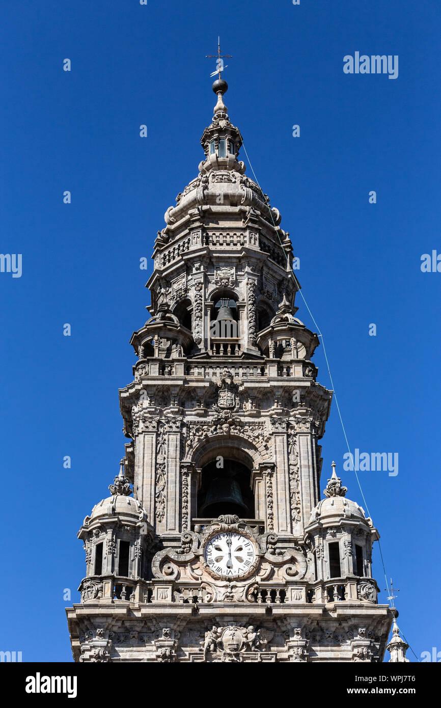 Berenguela or Clock tower of Santiago de Compostela cathedral. Sunny day Stock Photo