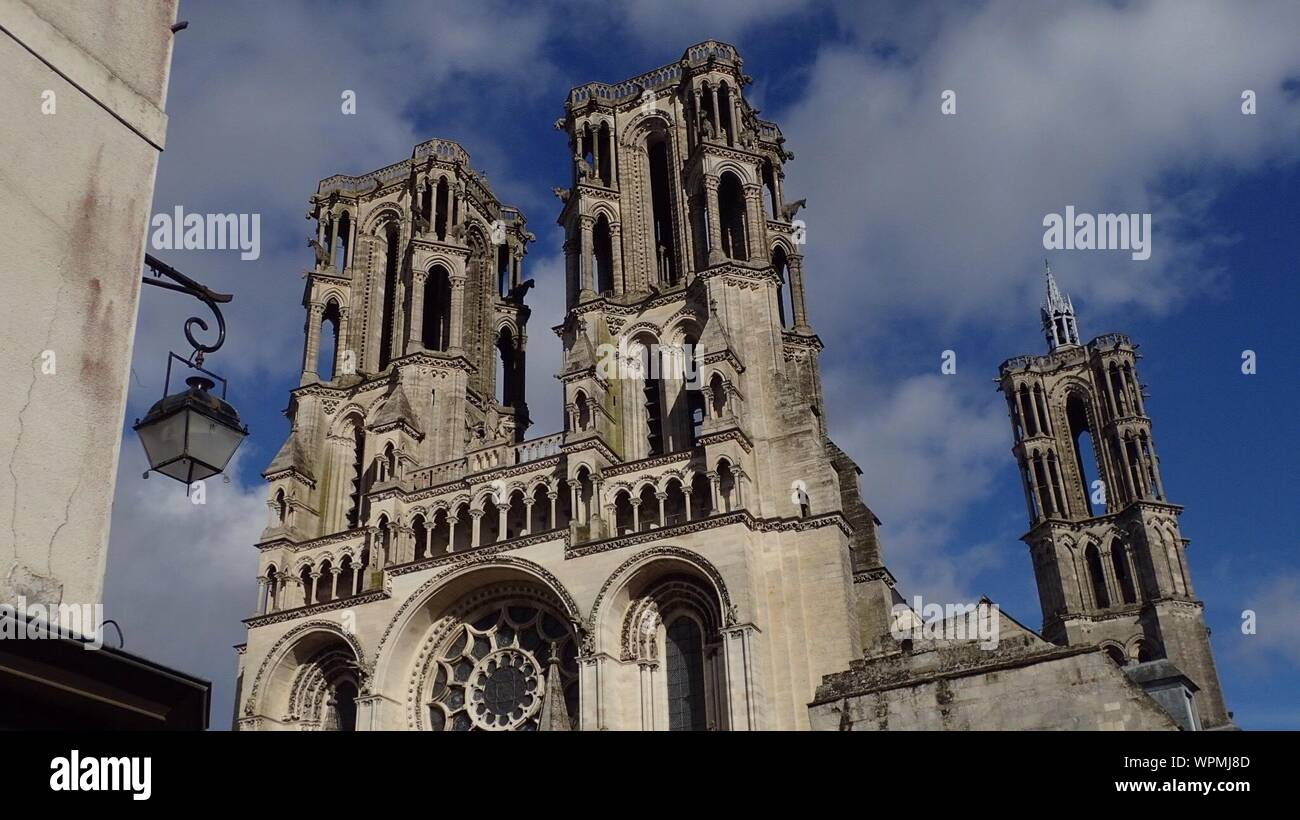 Low Angle View Of Notre-dame De Laon Against Sky Stock Photo