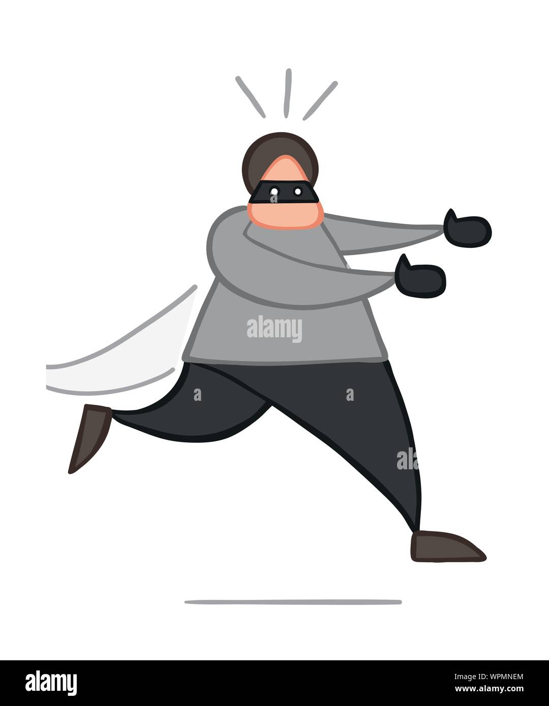 Vector illustration thief running away. Hand drawn. Colored outlines. Stock Vector