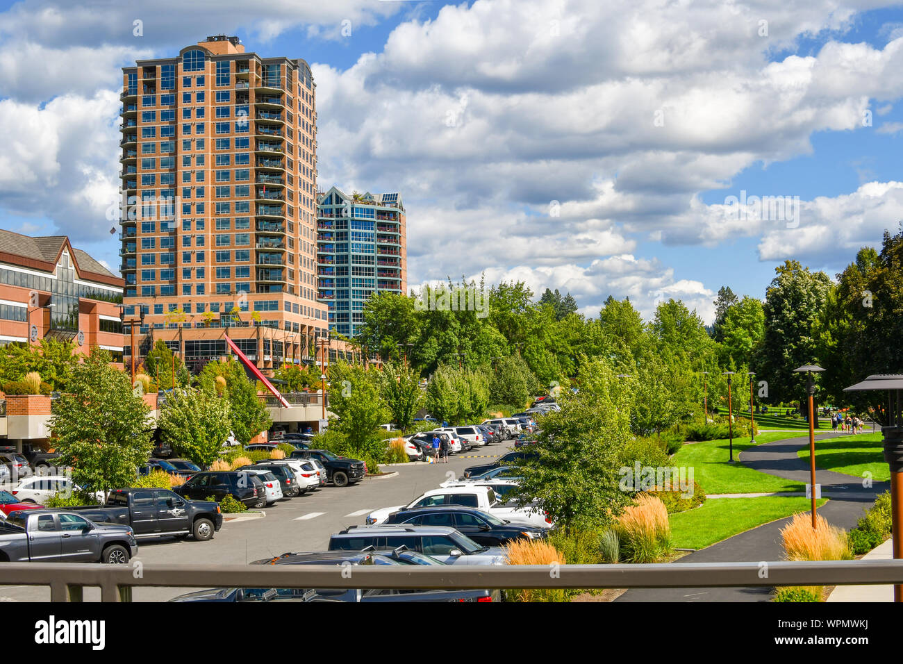 A view of the McEuen Park and parking structure currently a controversial issue due to the increased fees in the mountain town of Coeur d'Alene, Idaho Stock Photo