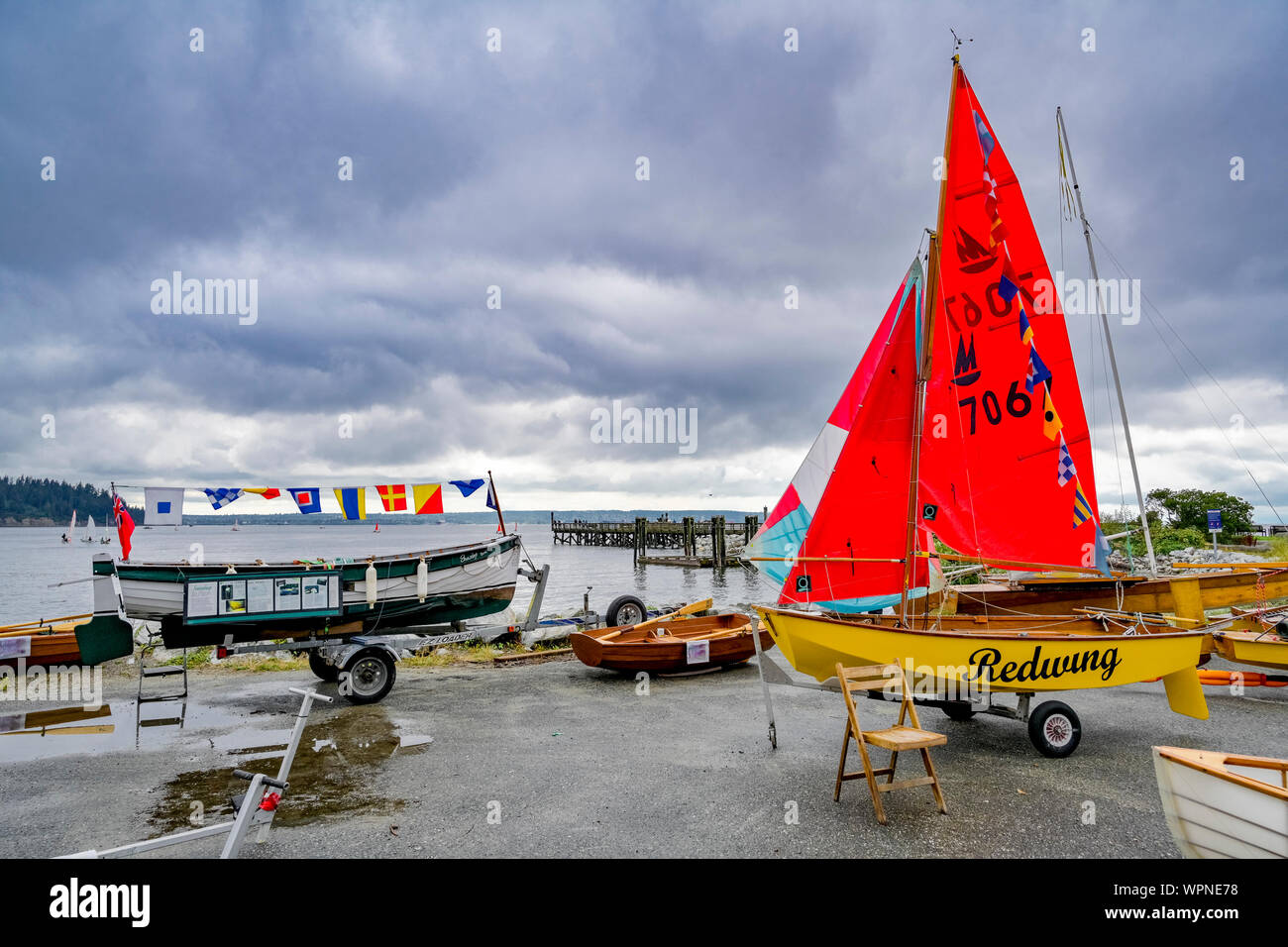 Hollyburn Sailing Club, Wooden Boat Show, Ambleside, North Vancouver, British Columbia, Canada Stock Photo