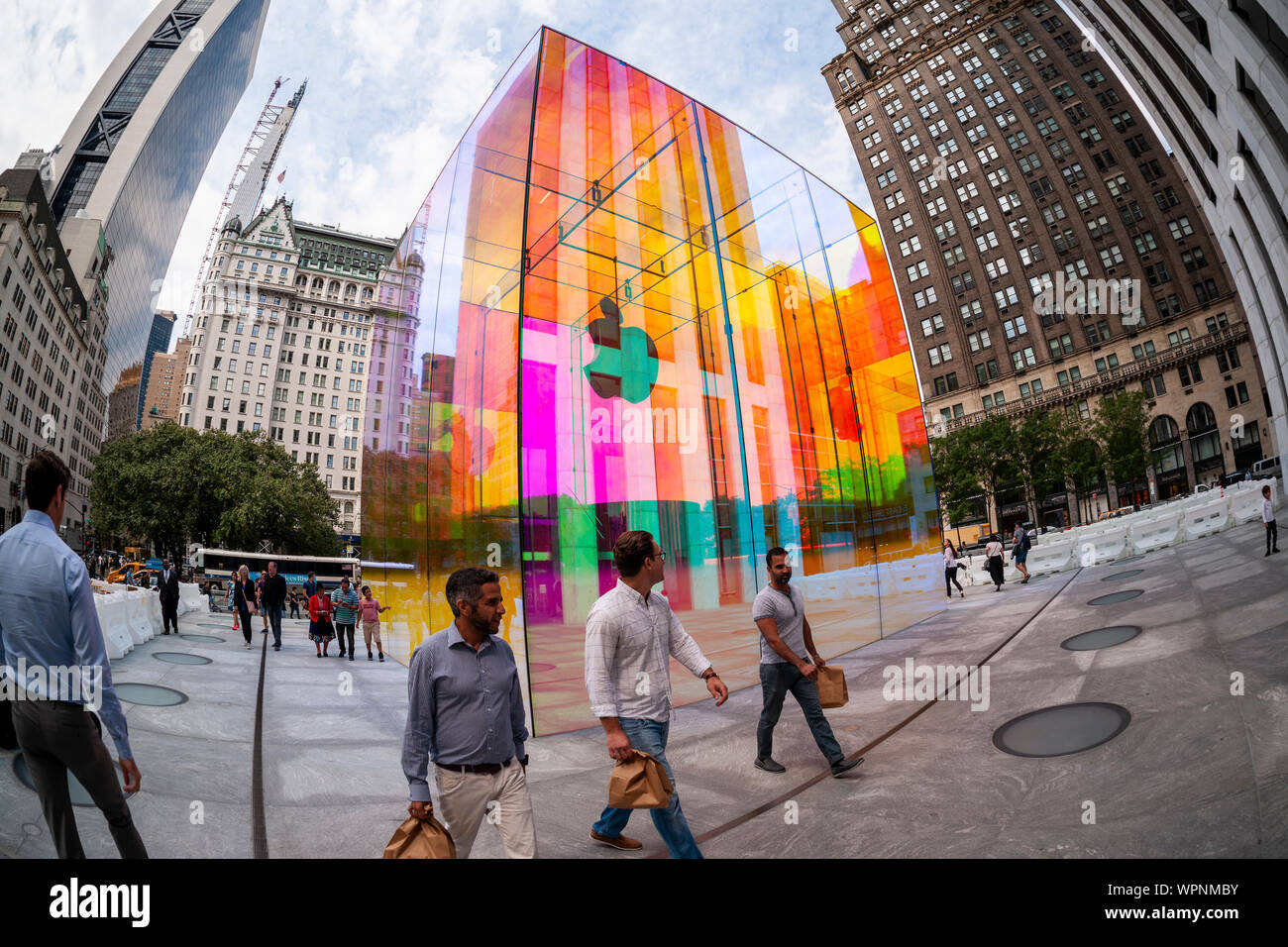 The glass cube at the entrance to the Apple store on Fifth Avenue in New York is covered with a rainbow skin on Monday, September 9, 2019 in advance of the Apple special event announcement tomorrow. Apple is expected to announce a number of new and upgraded products including iPhones.  (© Richard B. Levine) Stock Photo
