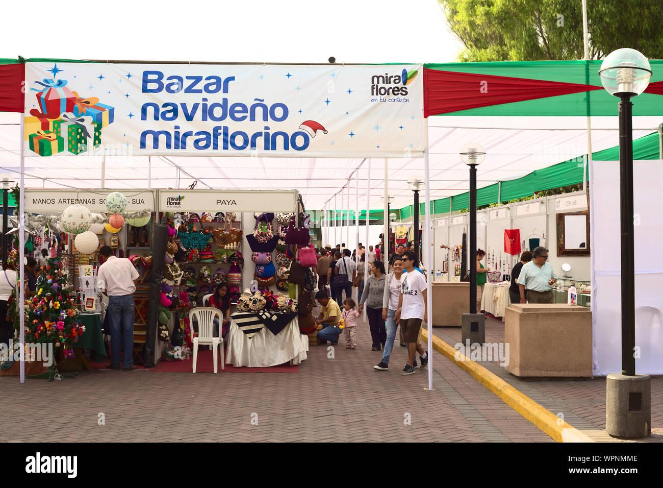 Christmas Bazaar Near Me.Lima Peru December 13 2011 Unidentified People On The