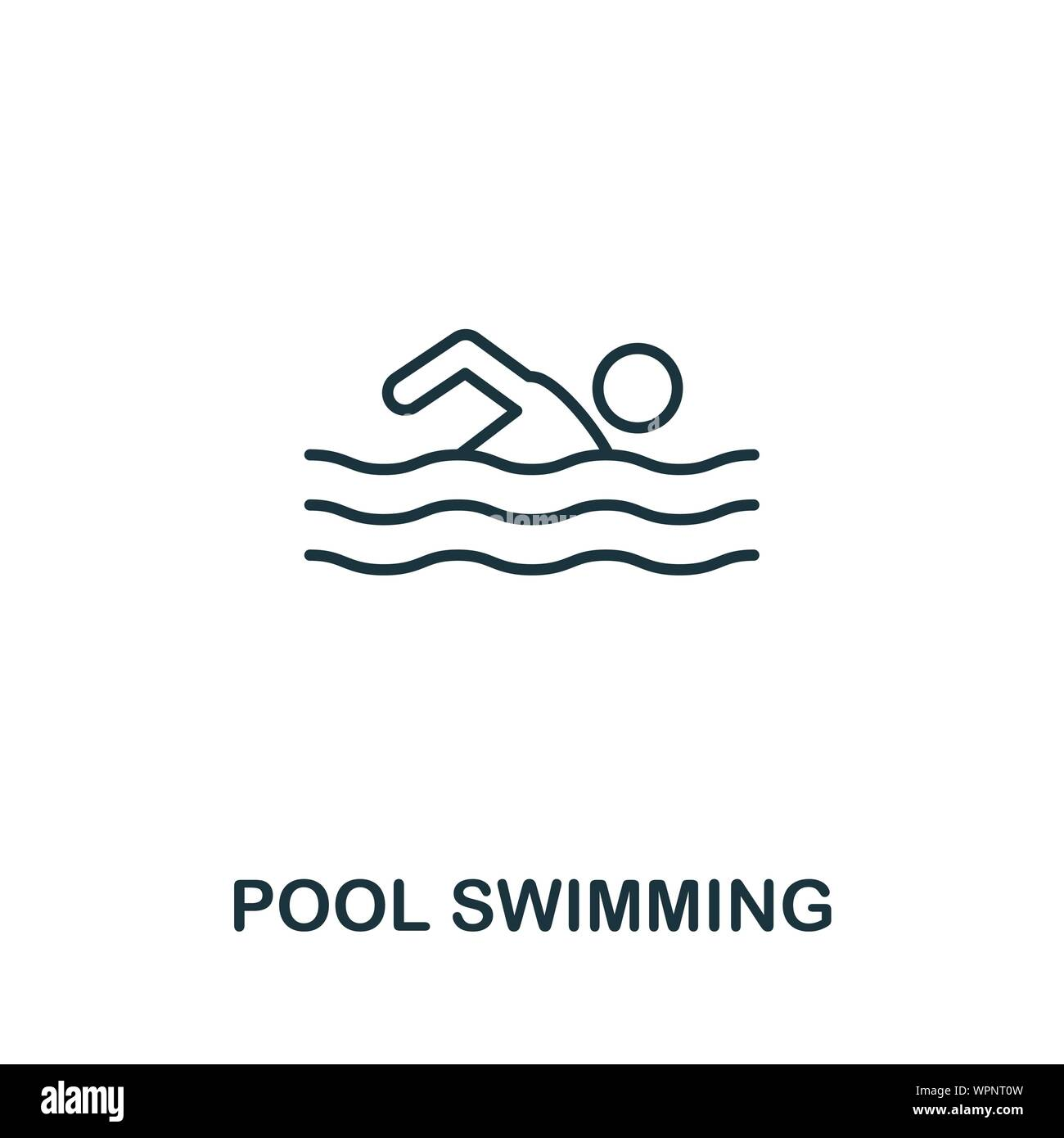 Pool Swimming icon. Thin outline style design from fitness ...
