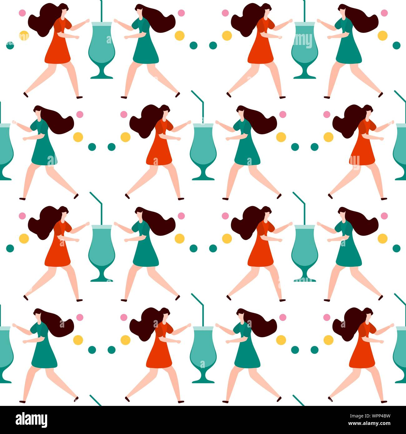 Festive Seamless Pattern Vector Illustration With Man Cocktail In Glass Party Concept Happy New Year 2020 Birthday Design For Fabric Print Wra Stock Vector Image Art Alamy