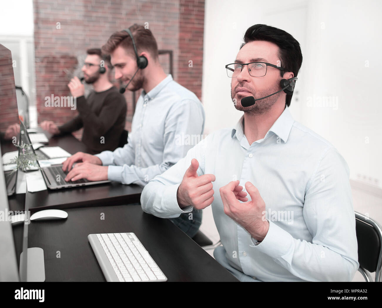businessman at a video session in the call center.business concept Stock Photo