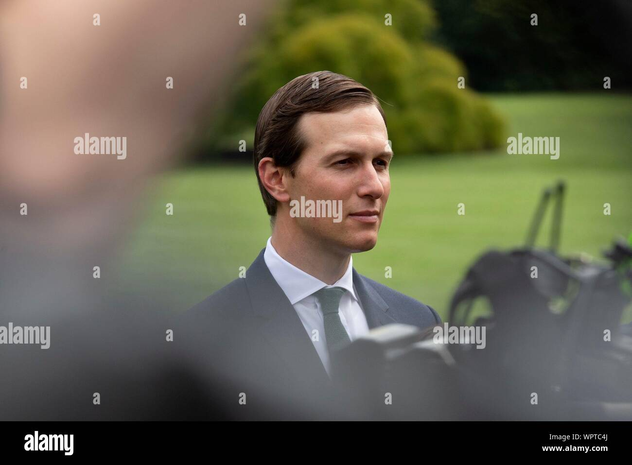 Washington, United States Of America. 09th Sep, 2019. Senior Advisor Jared Kushner listens to United States President Donald J. Trump speak to the press as he departs the White House in Washington, DC, U.S. for a rally in North Carolina on September 9, 2019. Credit: Stefani Reynolds/CNP | usage worldwide Credit: dpa/Alamy Live News Stock Photo