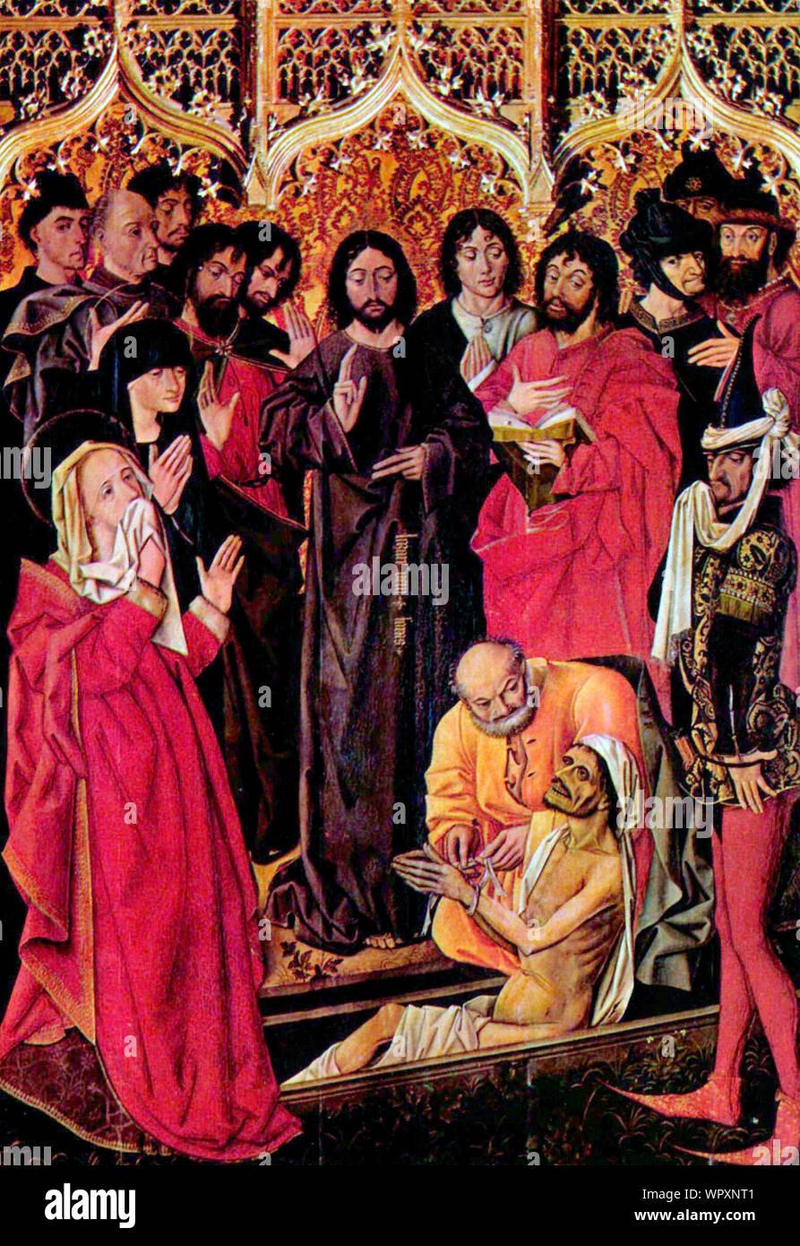 Resurrection of Lazarus - Nicolas Froment, circa 1461 Stock Photo