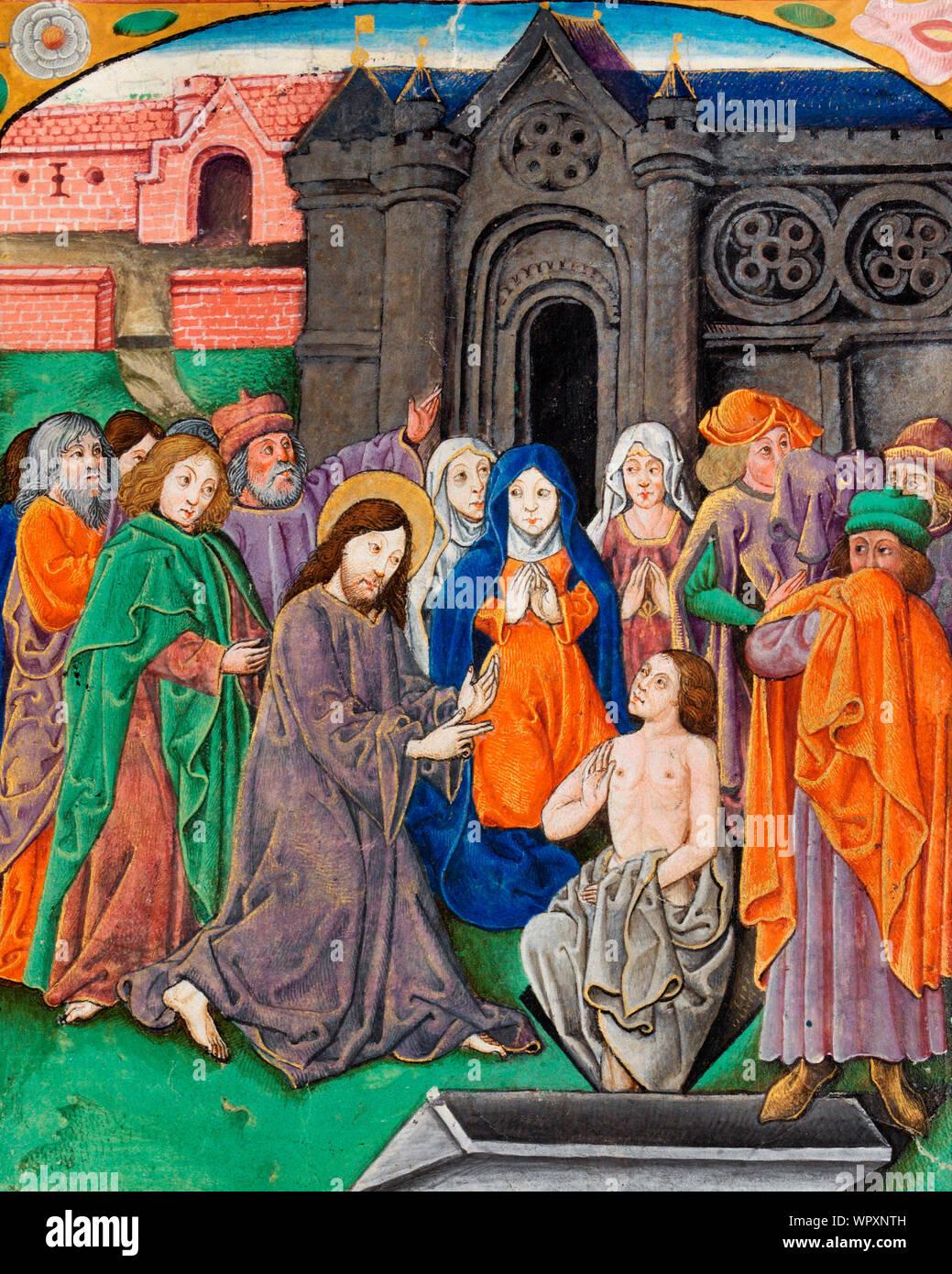 Raising of Lazarus by Jesus Christ Stock Photo