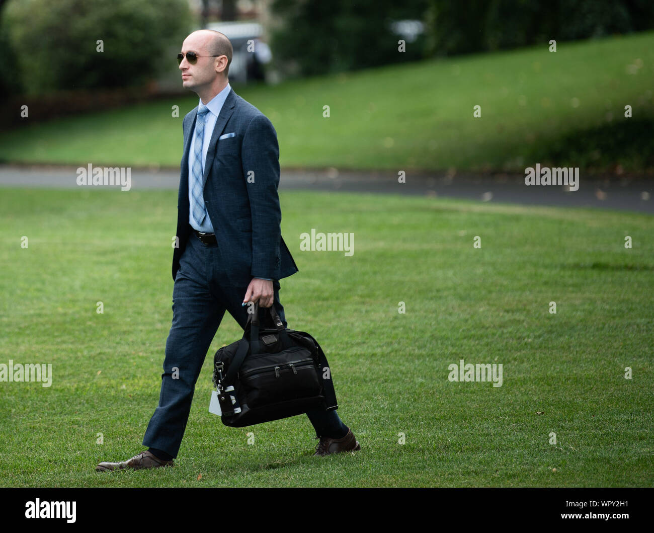 Washington DC, USA. 9th Sep 2019. Stephen Miller Senior Advisor to President Donald Trump departs with President Donald Trump for a rally in North Carolina, in Washington, DC on Monday, September 9, 2019. Photo by Kevin Dietsch/UPI Credit: UPI/Alamy Live News Stock Photo