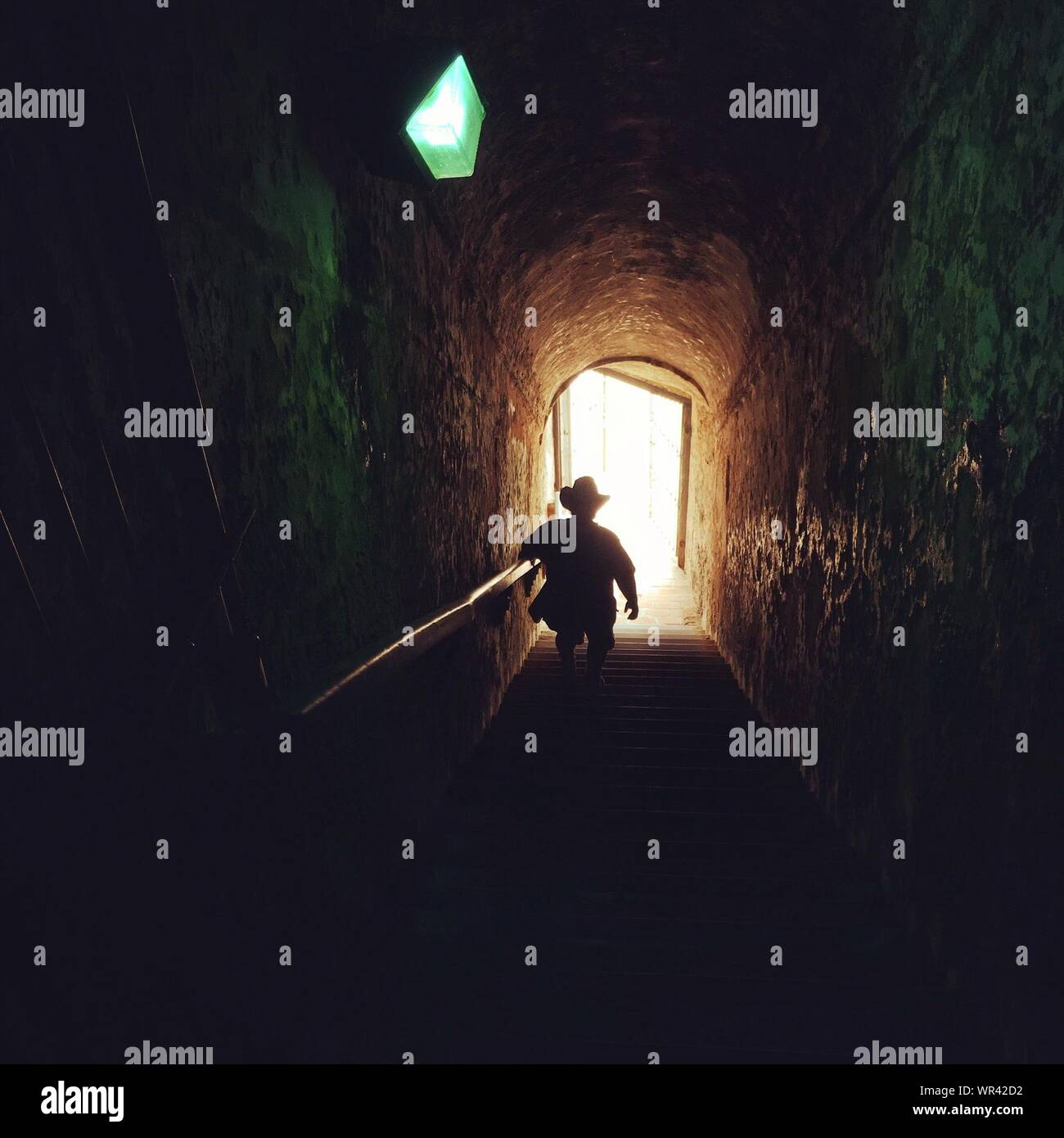 Rear View Of Silhouette Man Moving Down Steps In Tunnel Stock Photo