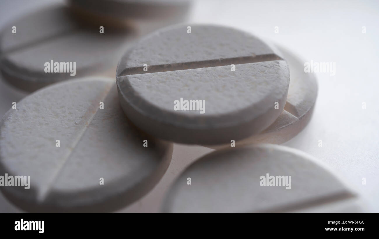 oval, round, drug, xanax, viagra, circle, blank, unmarked Stock Photo