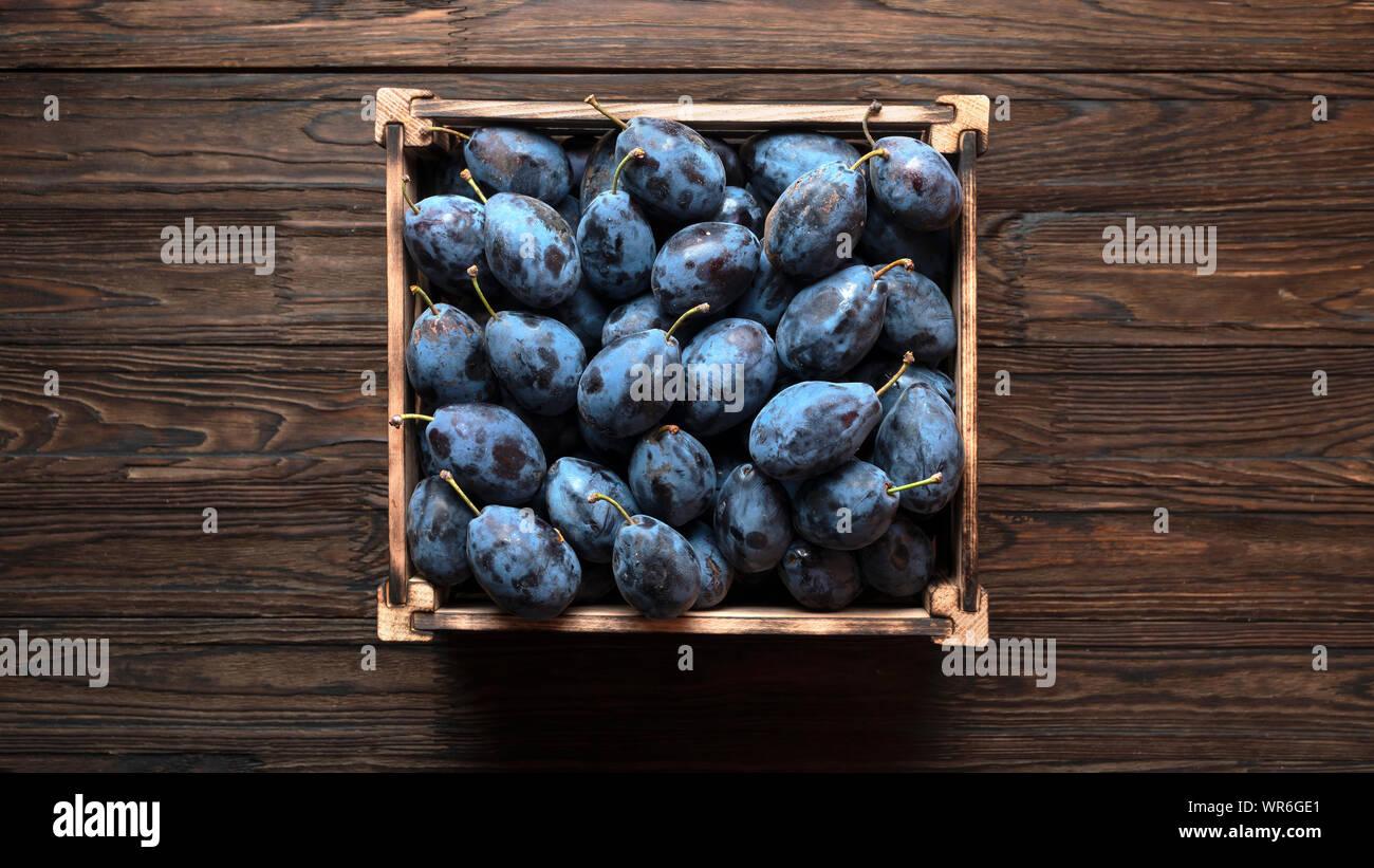 summer garden,  ripe fruit, purple plums, seasonal harvest, harvest crop, wooden table, apricots, plums prunus, white background Stock Photo
