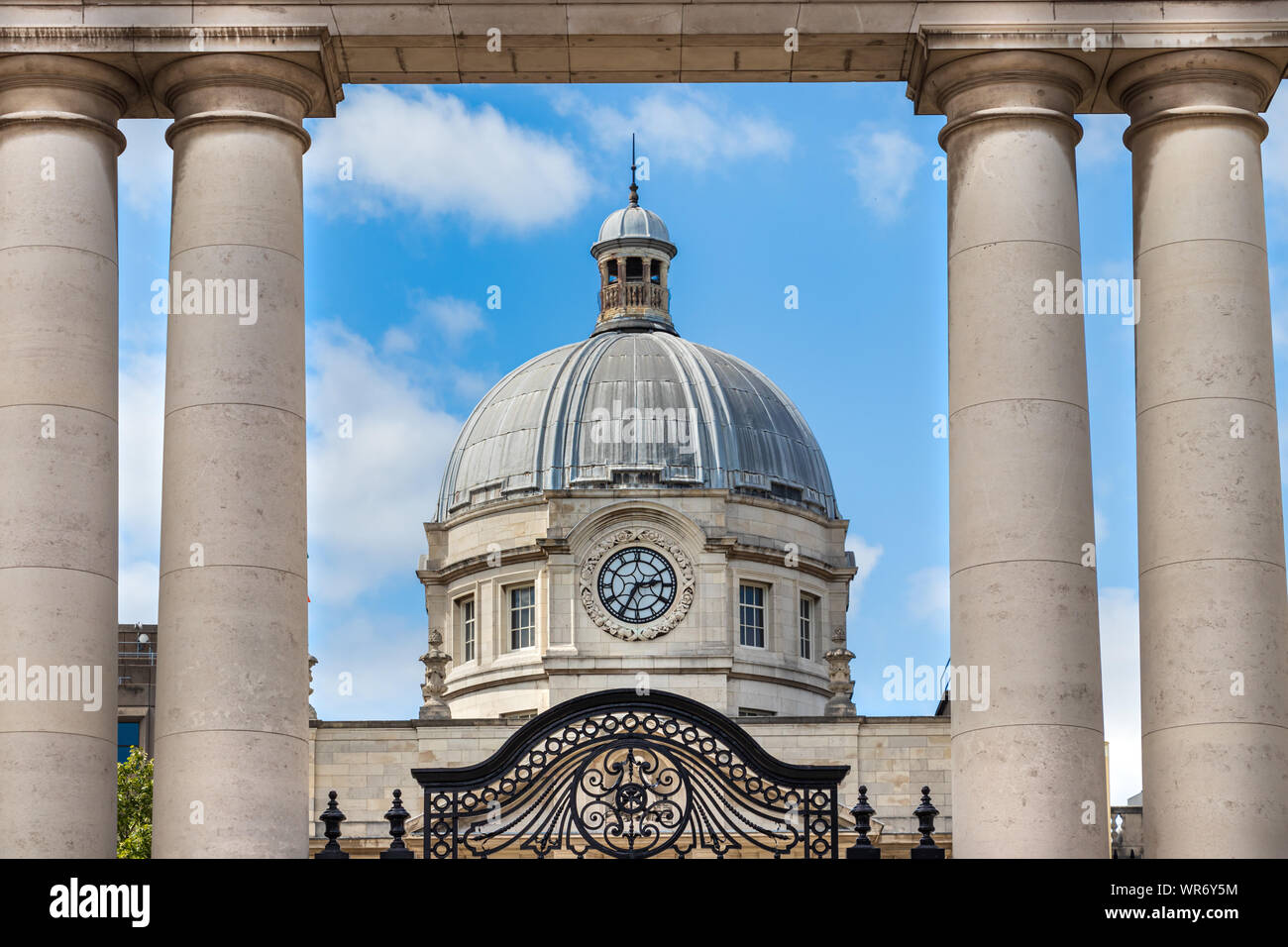 The clock and the dome of the Government Buildings - Tithe an Rialtais in Dublin, Ireland. Stock Photo