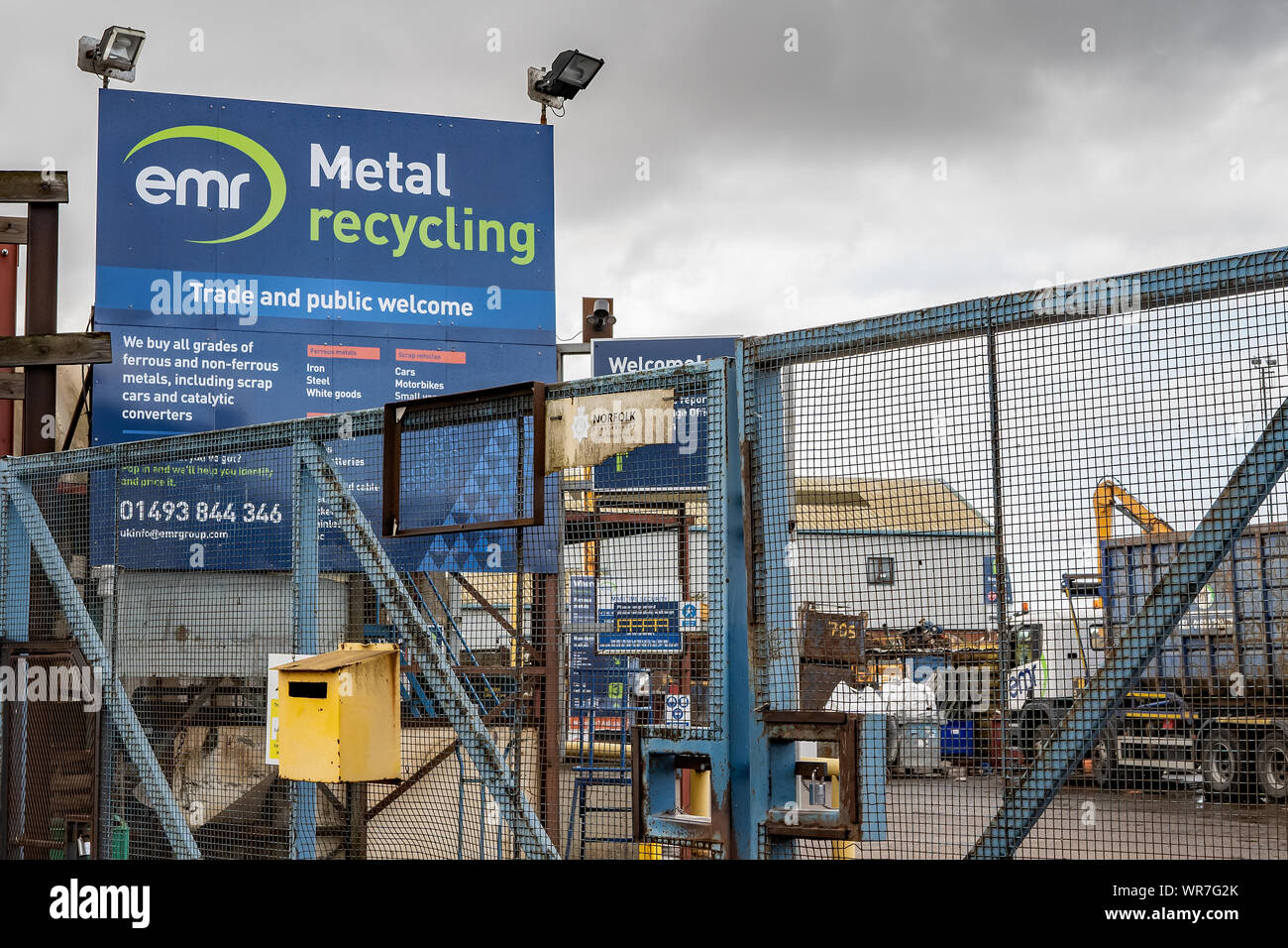 Great Yarmouth, Norfolk, UK – September 08 2019. Outside looking in to the yard of the EMR metal recycling plant at Southtown Road, Great Yarmouth Stock Photo