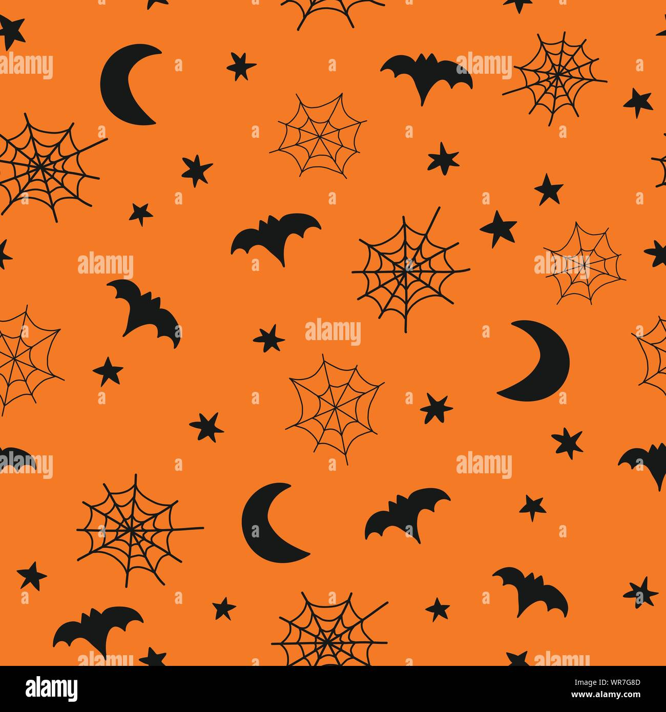 Seamless Vector Halloween Background Pattern With Hand Drawn Spider Webs Bats Moon Stars Cute Halloween Illustration Orange Black For Fabric Stock Vector Image Art Alamy