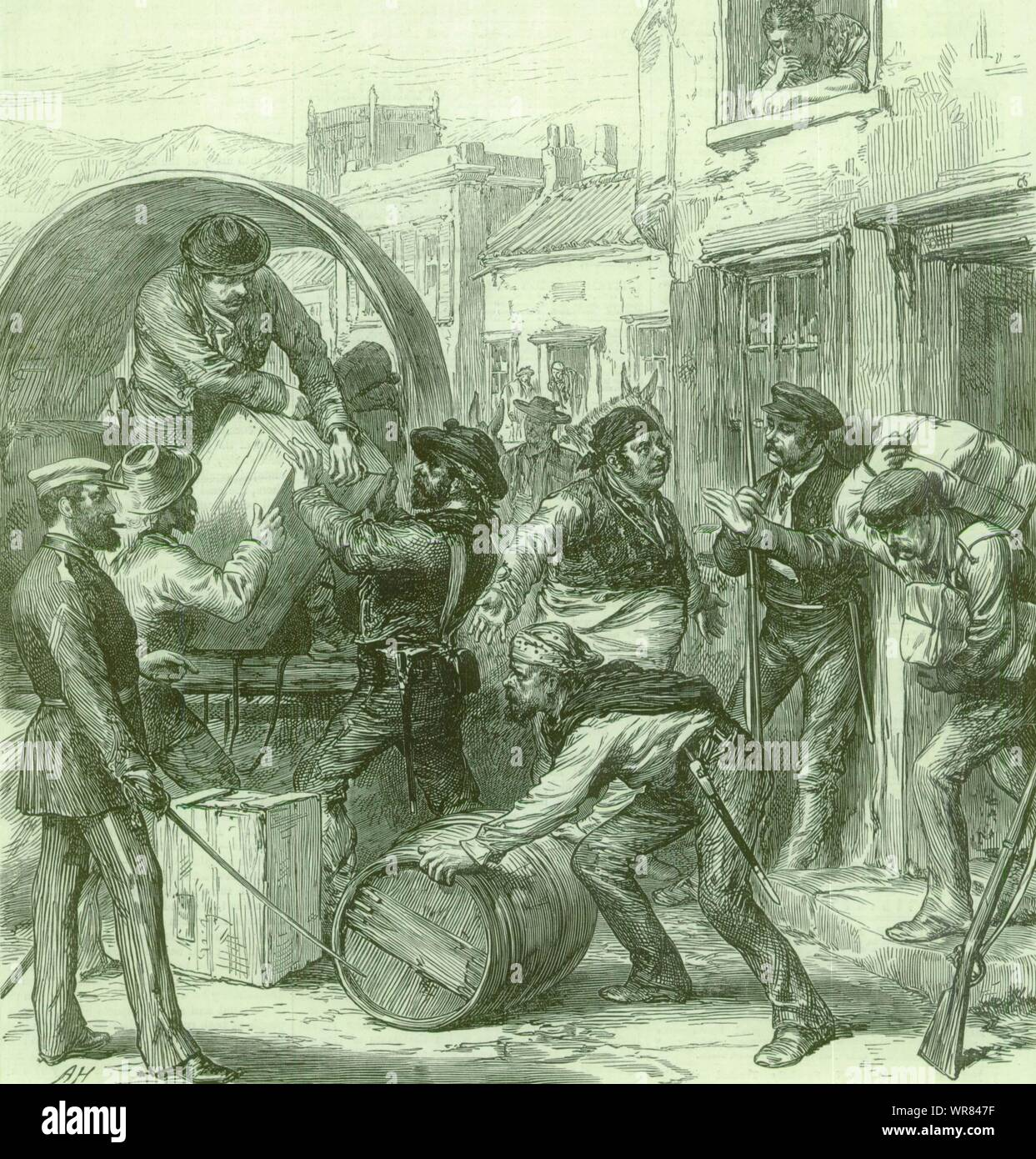 Spanish Civil War Cartagena insurgents at Torrevieja 1st Spanish Republic 1873 Stock Photo