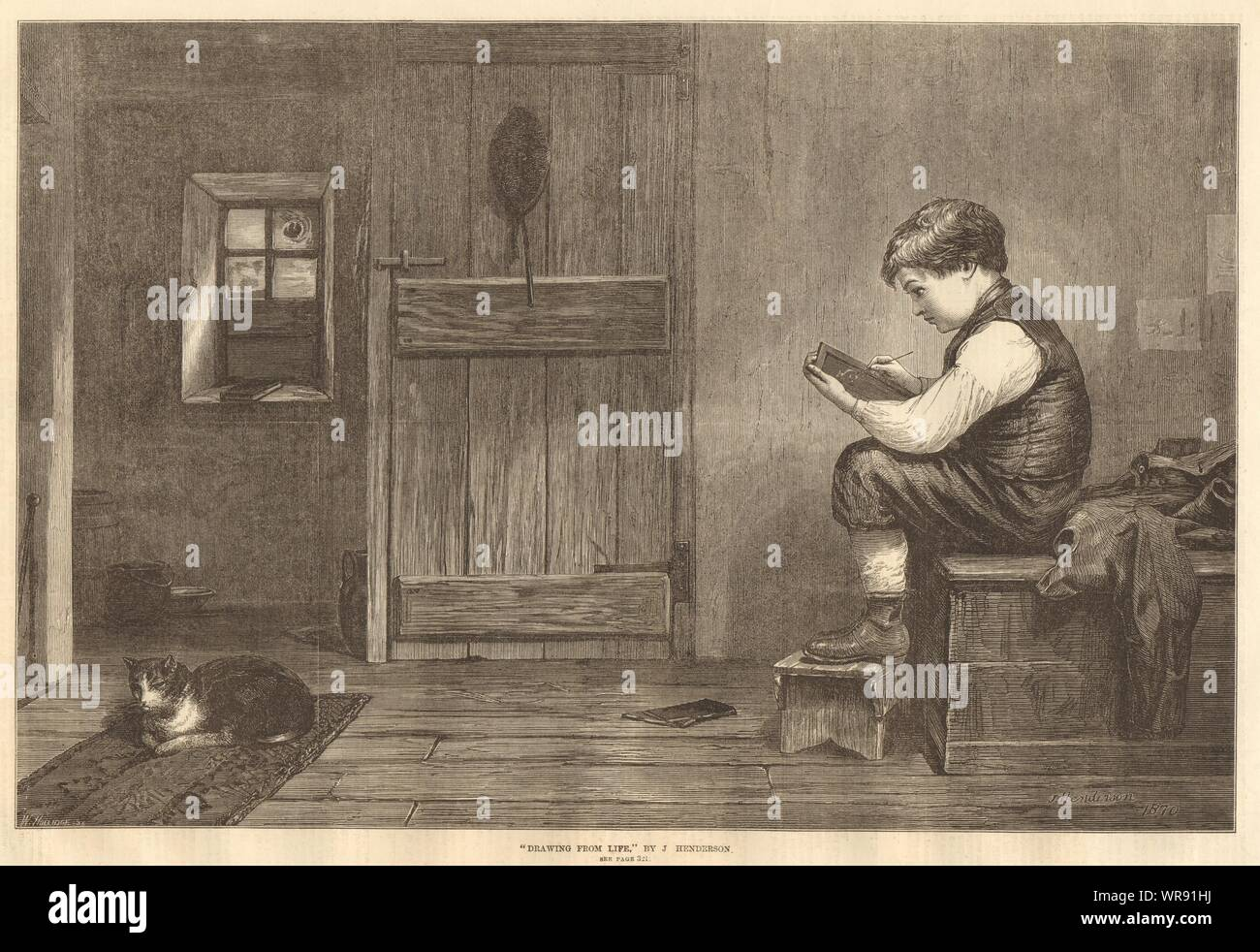 Drawing From Life Cats Artists 1870 Antique Iln Full Page Print Stock Photo Alamy