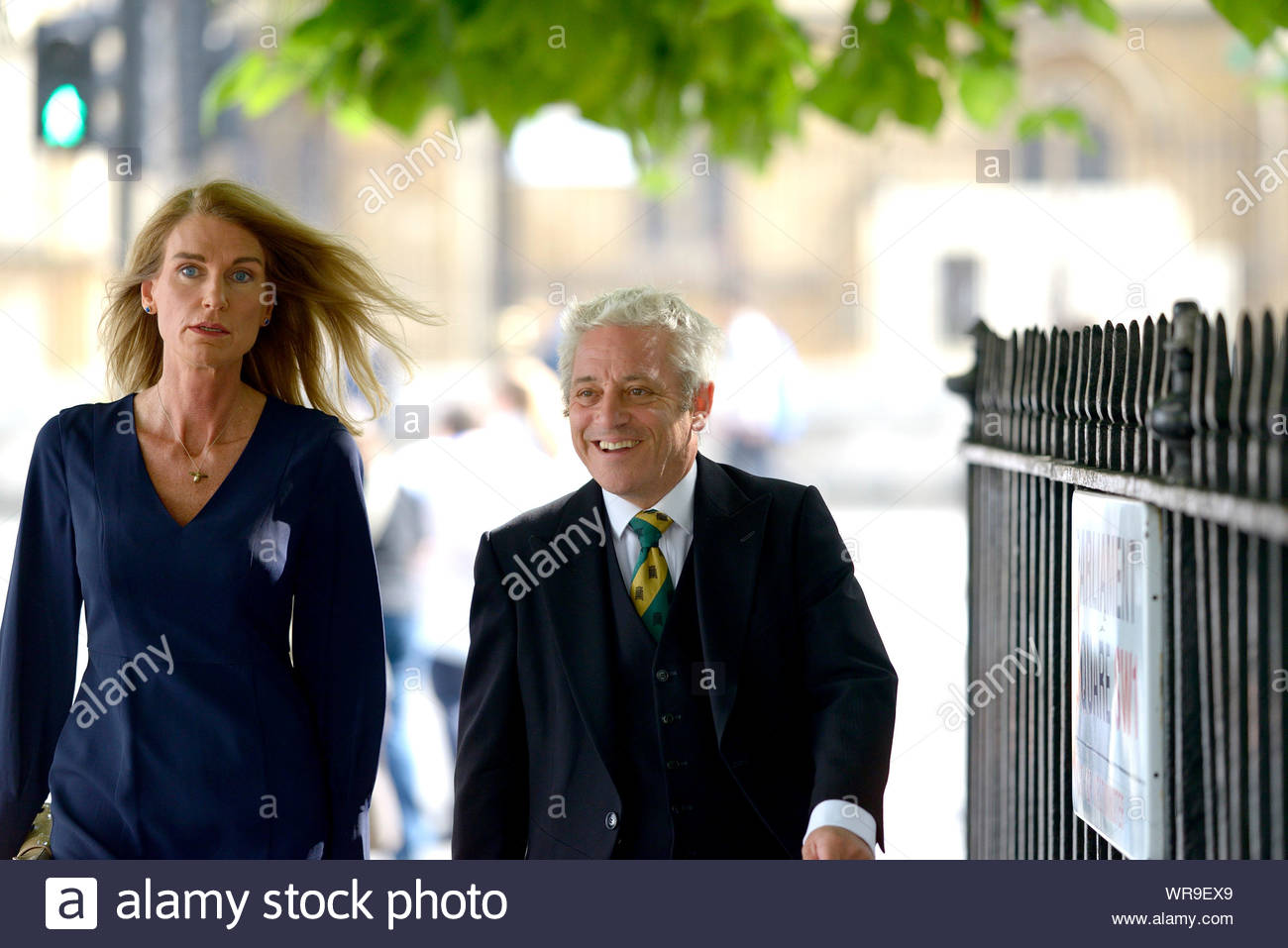 London, UK. 10th Sep, 2019. Speaker of the House of Commons, John Bercow, walks to Westminster Abbey with his wife Sally the morning after announcing that he will step down as Speaker either at the end of October or the next general election. They were attending a memorial service for Lord Paddy Ashdown. Credit: PjrFoto/Alamy Live News Stock Photo