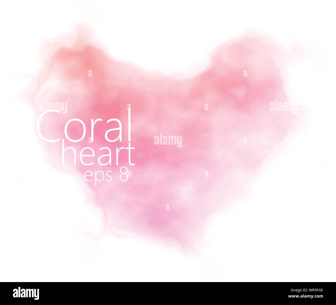 Watercolor heart shape in pink, coral, light salmon. Abstract pastel background with soft blended textures. eps8. Stock Vector