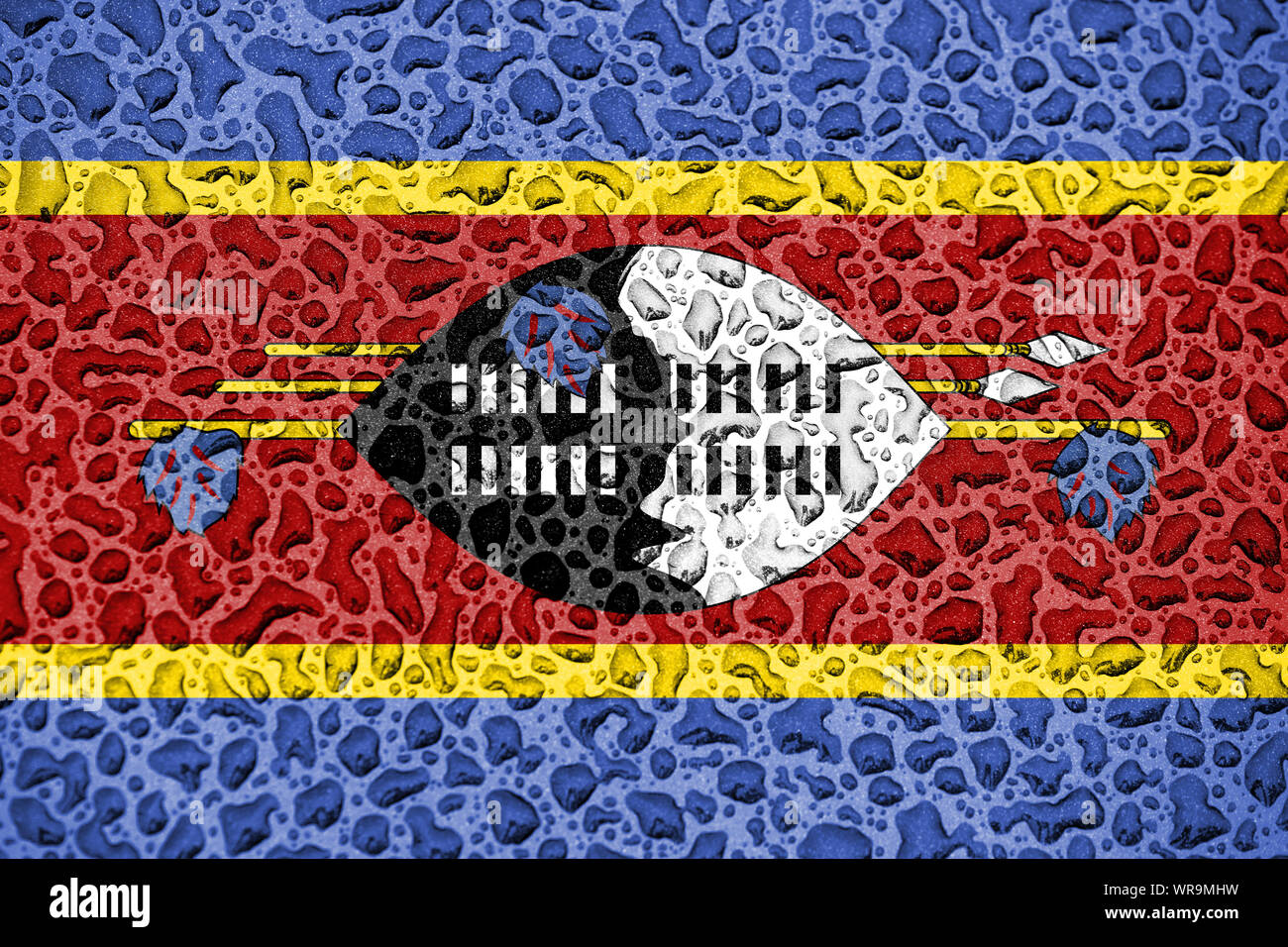 Swaziland national flag made of water drops. Background forecast season concept. Stock Photo