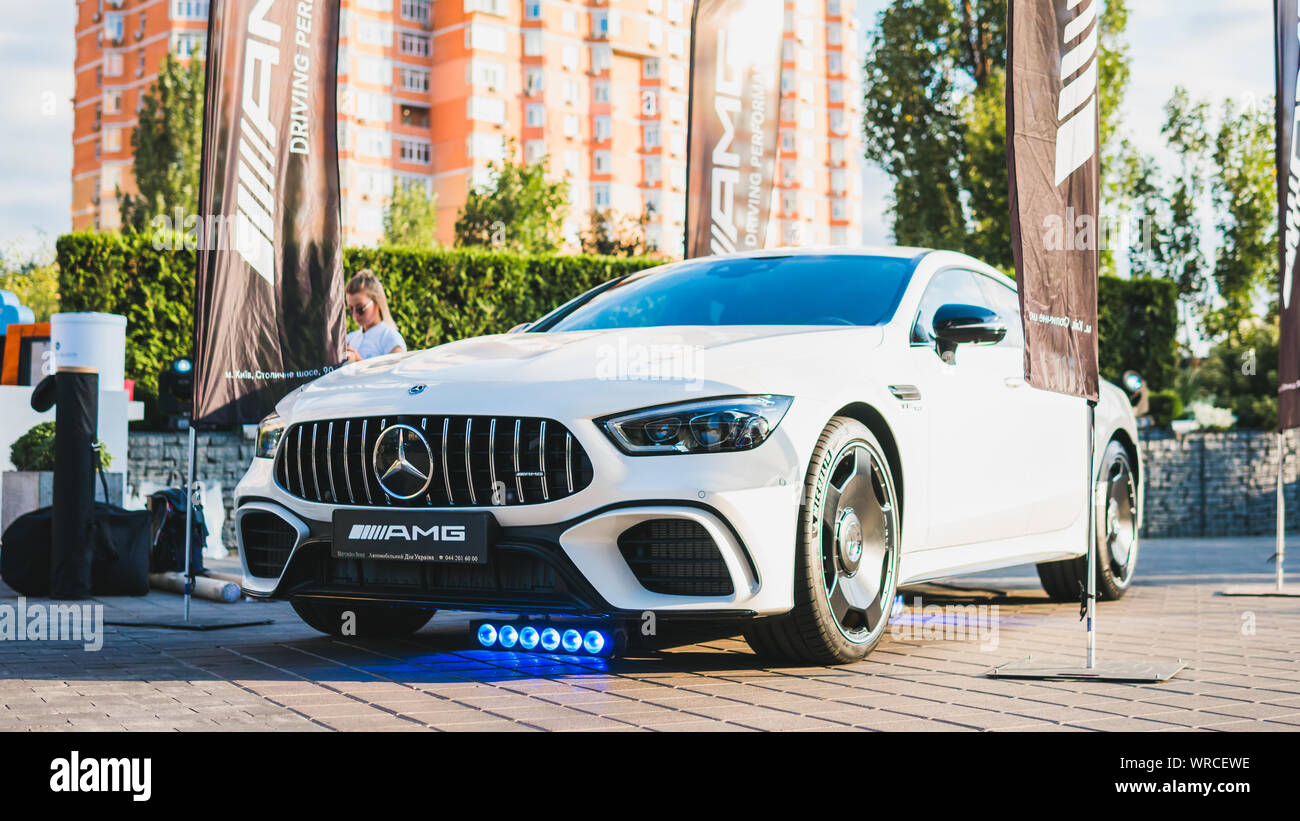 09.05.2019 - Kyiv, Ukraine: Presentation of new car mersedes, outdoors Stock Photo