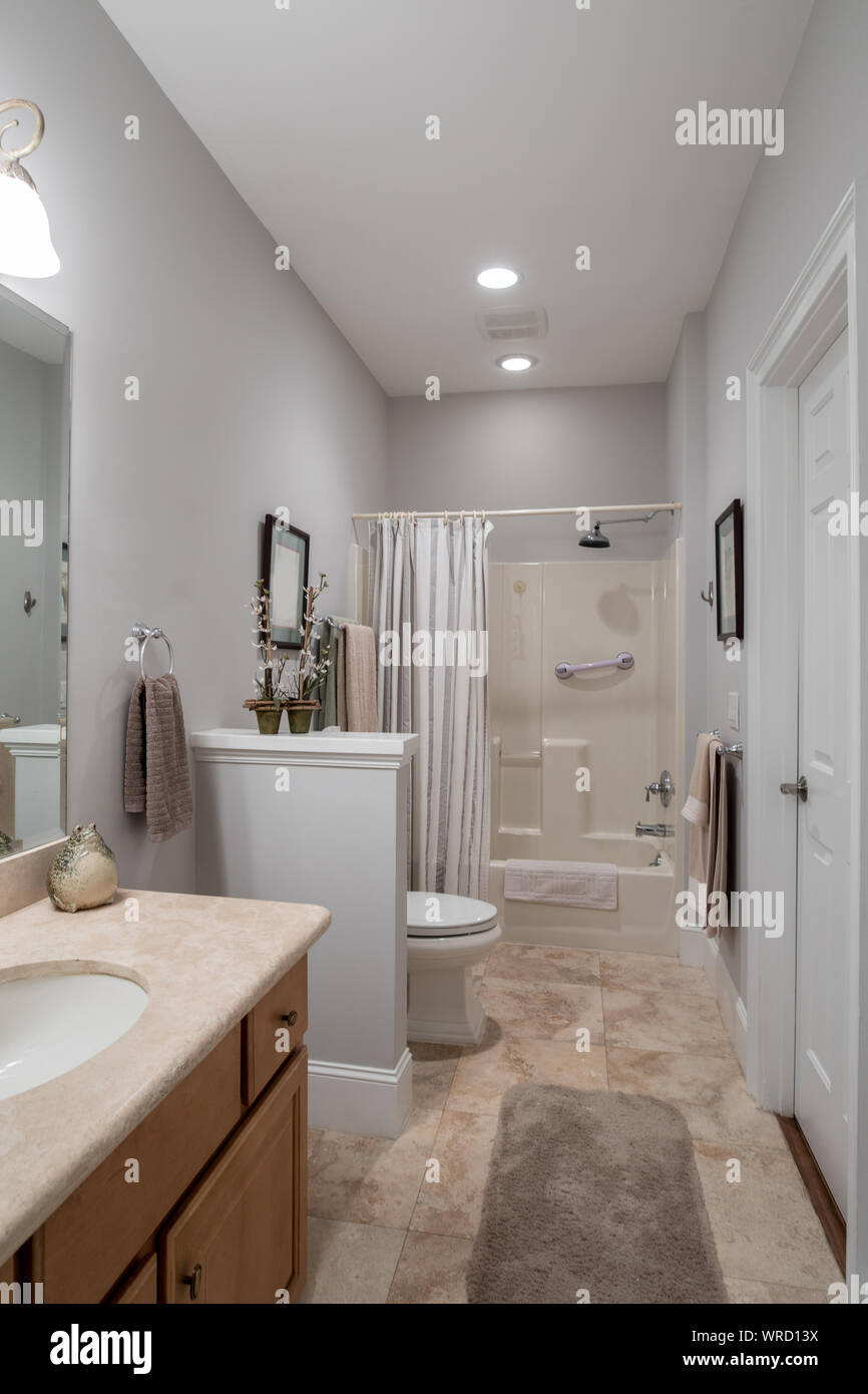 Tastfully Decorated Small Simple Bathroom Stock Photo Alamy