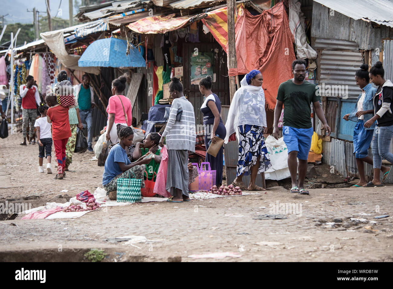 ARBA MINCH, ETHIOPIA-OCTOBER 27, 2018: Unidentified merchants sell vegetables and other wares at a market in Arba Minch, Ethiopia. Stock Photo