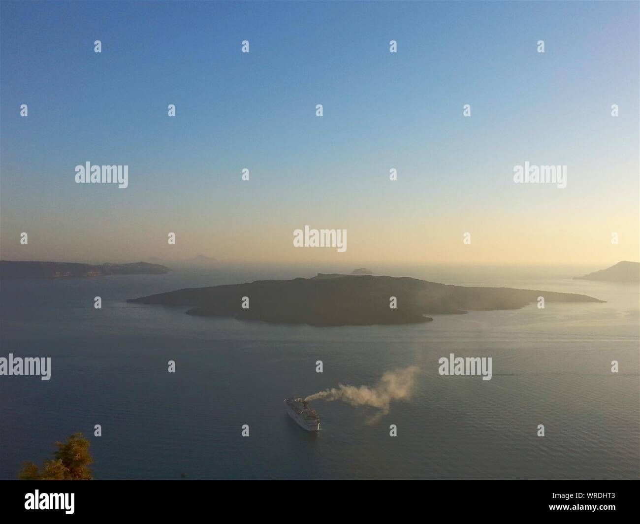 Scenic View Of Sea Against Clear Sky Stock Photo