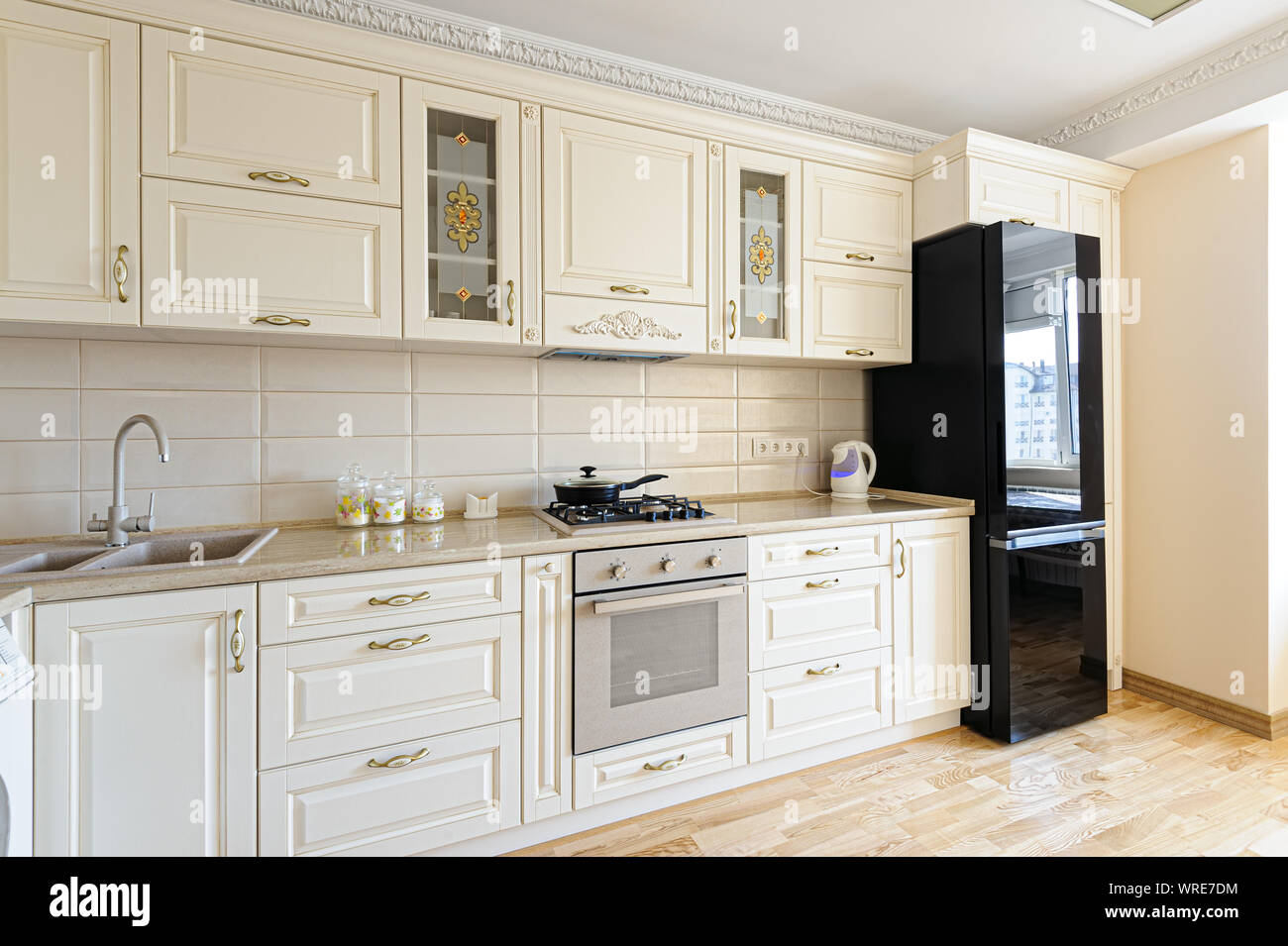 Luxury Modern Beige And White Kitchen Interior Stock Photo Alamy