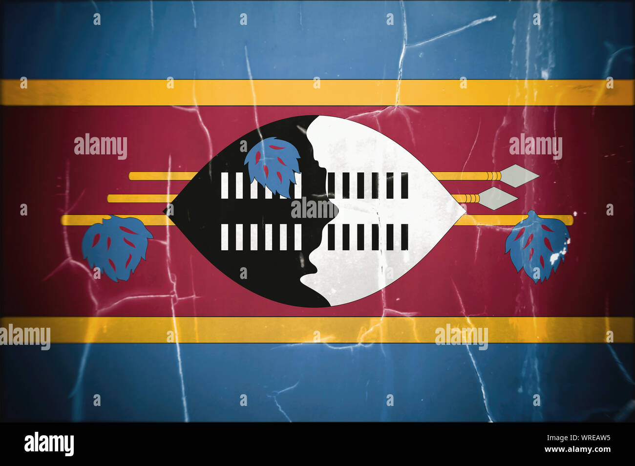 Flag of Eswatini (Swaziland), concrete background, dirty. Eswatini officially the Kingdom of Eswatini  and also known as Swaziland is a landlocked cou Stock Photo