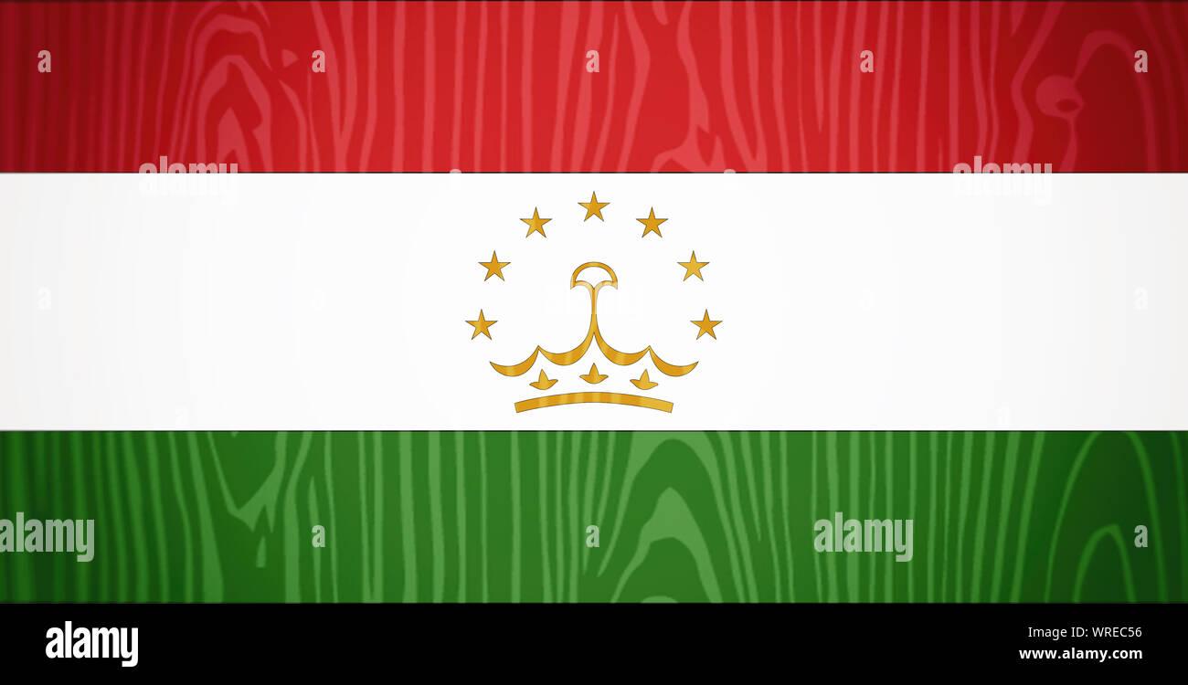 Flag of Tajikistan, wooden background. Stock Photo