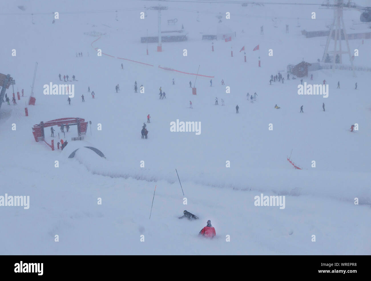 A white out at Val Thoren ski resort in France Stock Photo